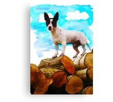Eddie on Logs Canvas Print
