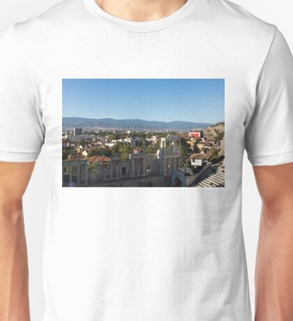 Layers and Centuries - Plovdiv the Antique Roman Theater and Rhodope Mountains Unisex T-Shirt