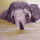 Bathtime - Asian elephant by Leigh Rust