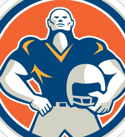 American Football With Helmet Circle Retro Sticker