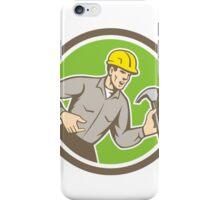 Builder Carpenter Shouting Hammer Circle Retro iPhone Case/Skin