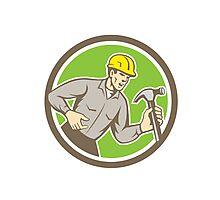 Builder Carpenter Shouting Hammer Circle Retro Photographic Print