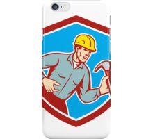 Builder Carpenter Shouting Hammer Shield Retro iPhone Case/Skin