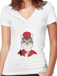 Original Greek Cat Art Print Women's Fitted V-Neck T-Shirt