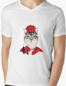 Original Greek Cat Art Print Mens V-Neck T-Shirt