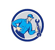 Mechanic Shouting Holding Spanner Wrench Circle Retro Photographic Print