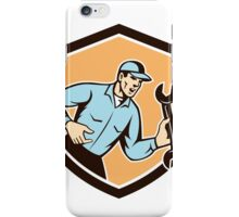 Mechanic Shouting Holding Spanner Wrench Shield Retro iPhone Case/Skin