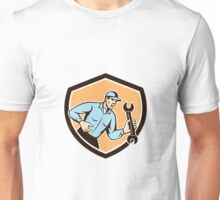 Mechanic Shouting Holding Spanner Wrench Shield Retro Unisex T-Shirt
