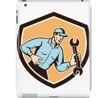 Mechanic Shouting Holding Spanner Wrench Shield Retro iPad Case/Skin