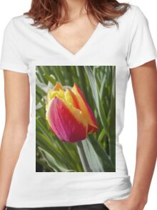 Spring tulip 2 Women's Fitted V-Neck T-Shirt
