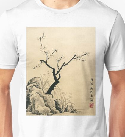 Plum Blossom With Stone And Iris - Ink Unisex T-Shirt
