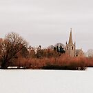 Wintery Church Across The Lake by Anthony Thomas