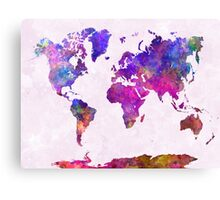 World map in watercolor  Canvas Print