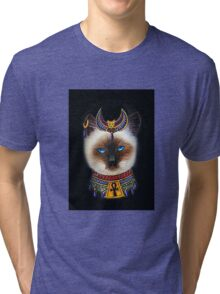 Pharaoh Cat Art Tri-blend T-Shirt
