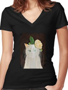 The Bride Cat Art Women's Fitted V-Neck T-Shirt