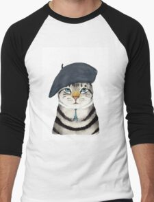 Charming French Cat  Men's Baseball ¾ T-Shirt