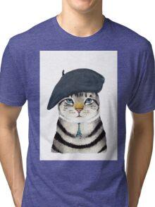 Charming French Cat  Tri-blend T-Shirt