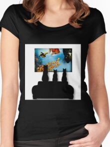 Charming Cats Watching Aquarium Women's Fitted Scoop T-Shirt
