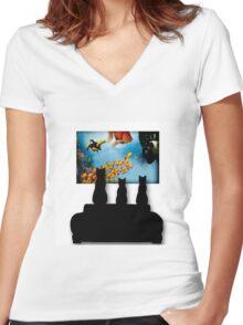 Charming Cats Watching Aquarium Women's Fitted V-Neck T-Shirt