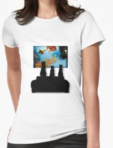 Charming Cats Watching Aquarium Womens Fitted T-Shirt