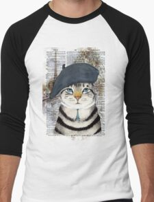 Charming French Cat in Paris. Perfect for cat lovers. Men's Baseball ¾ T-Shirt