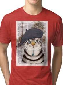 Charming French Cat in Paris. Perfect for cat lovers. Tri-blend T-Shirt