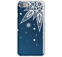 Christmas card with snowflakes on a blue background iPhone Case/Skin