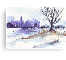 Winter at the pond Canvas Print