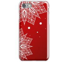 Christmas card with snowflakes on red background iPhone Case/Skin