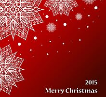Christmas card with snowflakes on red background by Ann-Julia