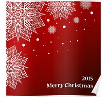 Christmas card with snowflakes on red background Poster