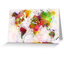 World map in watercolor  Greeting Card