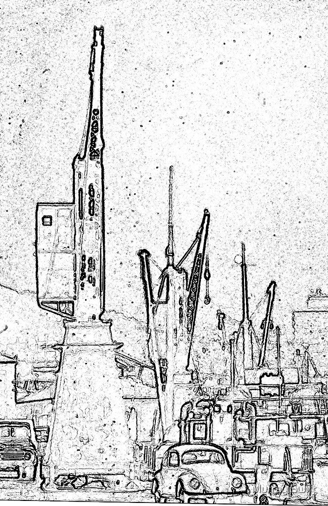Wellington Wharf Cranes by Murray Swift