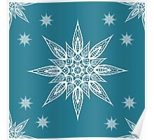 Christmas seamless pattern with snowflakes on blue background Poster