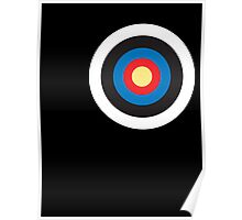 Bulls eye, Red, White, Blue, Roundel, Target, SMALL ON BLACK Poster