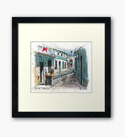 Quiet sidestreet, Ferragudo, Portugal Framed Print