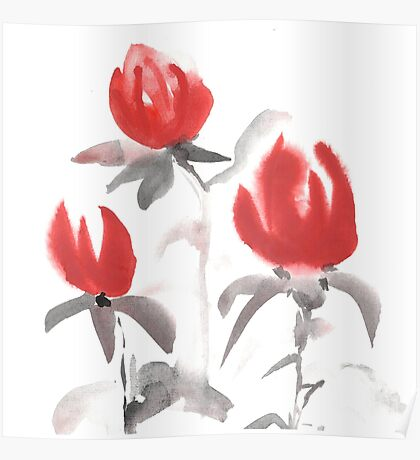Red flowers. Poster