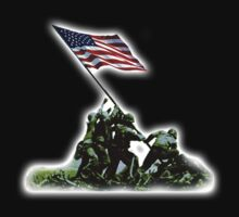 American Flag, USA, Raising the Colours on Iwo Jima WW2, on BLACK by TOM HILL - Designer