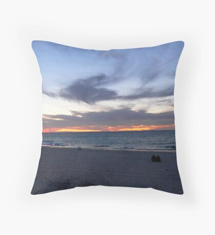 Watching the Day End - Sunset at Port Beach Throw Pillow
