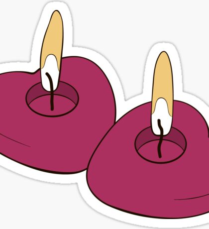 Two burning candles hearts Sticker