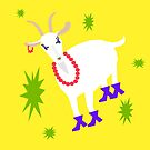 Goat on the Yellow Background. Neon by Vitta