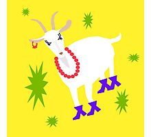 Goat on the Yellow Background. Neon Photographic Print