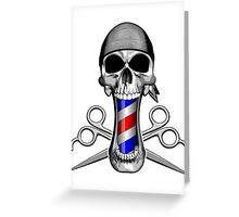 Barber Skull and Scissors Greeting Card