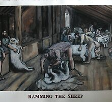 Ramming the Sheep.  (after Tom Roberts) by Tom Dunn