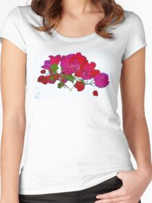 Pink Flowers - white background Women's Fitted Scoop T-Shirt
