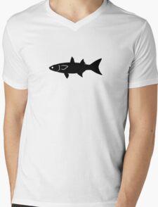 Mullet Fish Silhouette (Black) Mens V-Neck T-Shirt