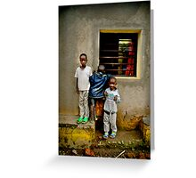 'Window watchers,' Northern Rwanda, Africa Greeting Card