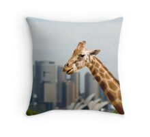 Giraffe in the Big Smoke Throw Pillow