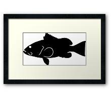 Red Grouper Fish Silhouette (Black) Framed Print