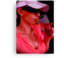 Girl & Beer Canvas Print